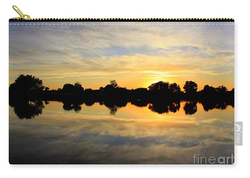 Yellow Carry-all Pouch featuring the photograph Prosser Sunset - Blue And Gold by Carol Groenen