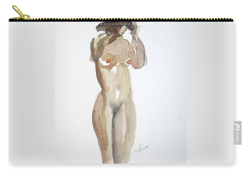 Nude Carry-all Pouch featuring the painting Protect Yourself by Vesna Antic
