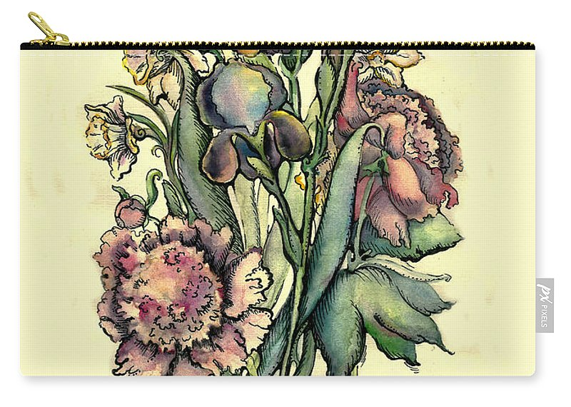 Watercolor Flower Carry-all Pouch featuring the drawing Proud Iris by Tais Karelina