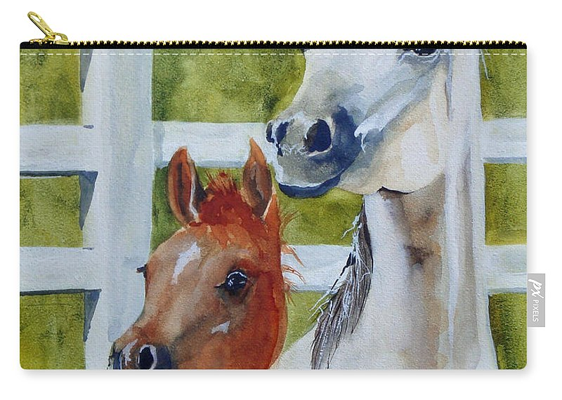 Equine Carry-all Pouch featuring the painting Proud Mama by Jean Blackmer
