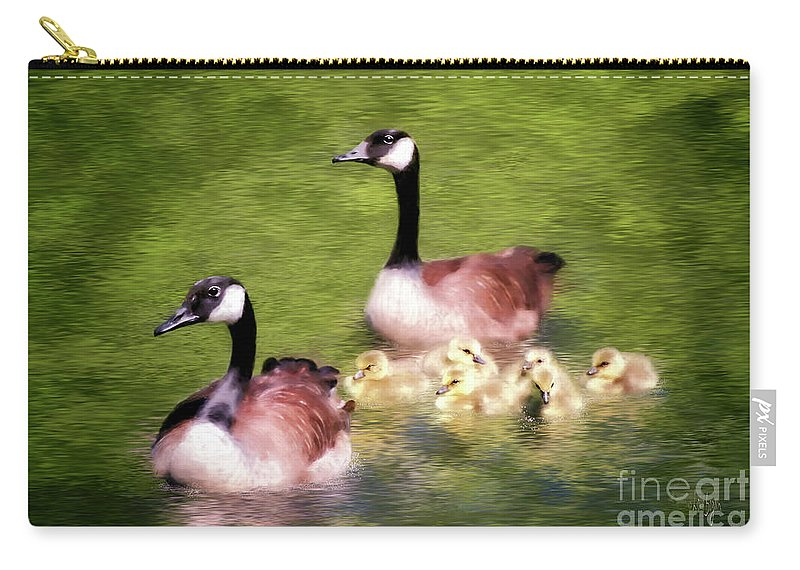 Canada Geese Carry-all Pouch featuring the digital art Proud Parents by Lois Bryan