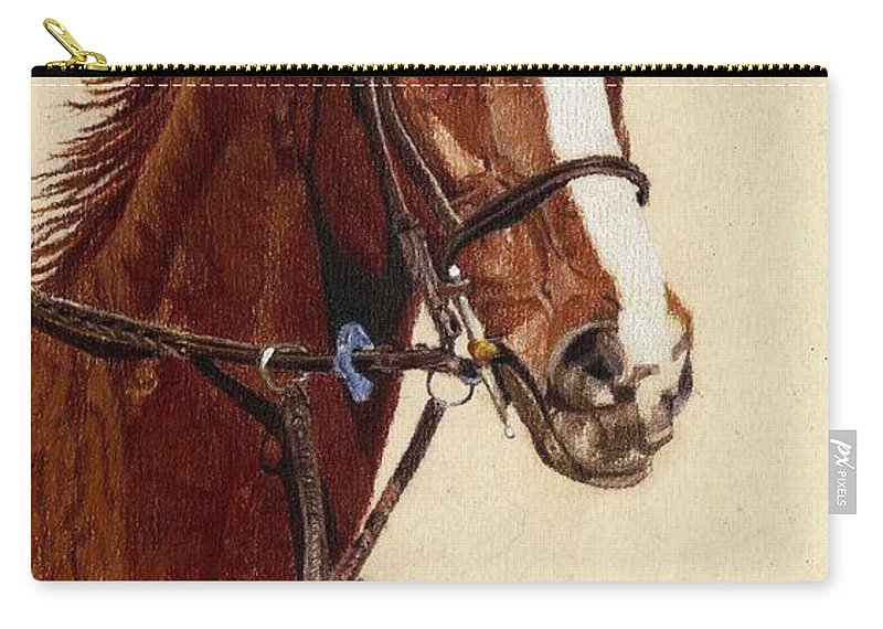 Art+prints Carry-all Pouch featuring the painting Proud - Portrait Of A Thoroughbred Horse by Patricia Barmatz
