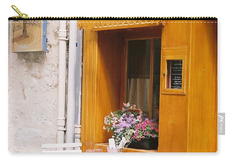 Cafe Carry-all Pouch featuring the photograph Provence Cafe by Nadine Rippelmeyer