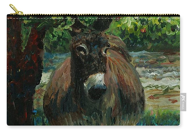 Donkey Carry-all Pouch featuring the painting Provence Donkey by Nadine Rippelmeyer