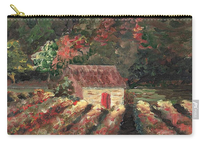 Landscape Carry-all Pouch featuring the painting Provence Vineyard by Nadine Rippelmeyer