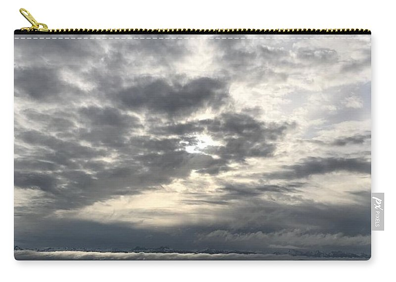 Heaven Declare Glory God Psalm Early Morning Sunrise Silver Gray Ocean Sky Clouds Juneau Alaska Pacific Carry-all Pouch featuring the photograph Psalm 19 by Russell Keating