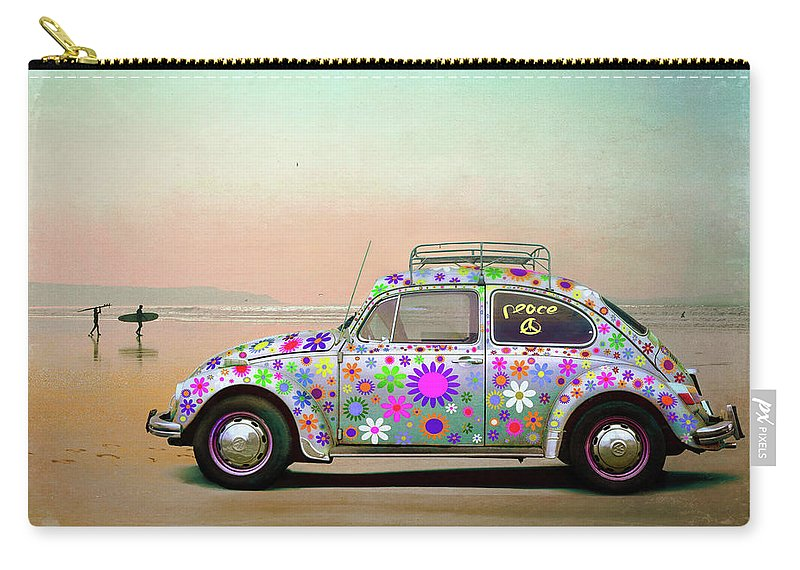 Beach Break Carry-all Pouch featuring the photograph Psychedelic Beach Break Fantasy by Mal Bray