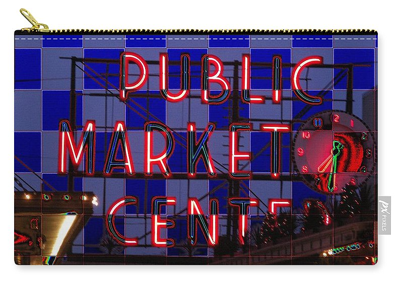 Seattle Carry-all Pouch featuring the digital art Public Market Checkerboard by Tim Allen