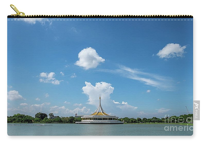 Park Carry-all Pouch featuring the photograph Public Park View Large Pond by Que Siam