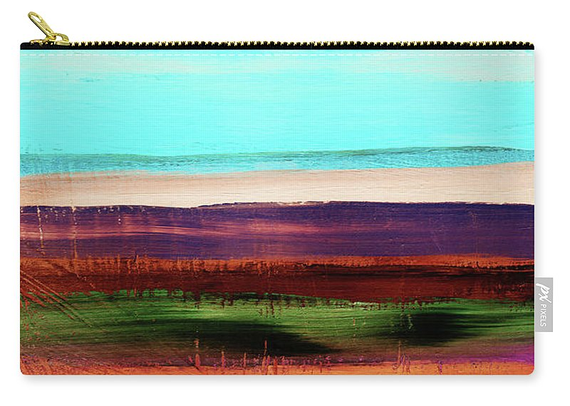 Abstract Carry-all Pouch featuring the mixed media Pueblo 2- Art By Linda Woods by Linda Woods