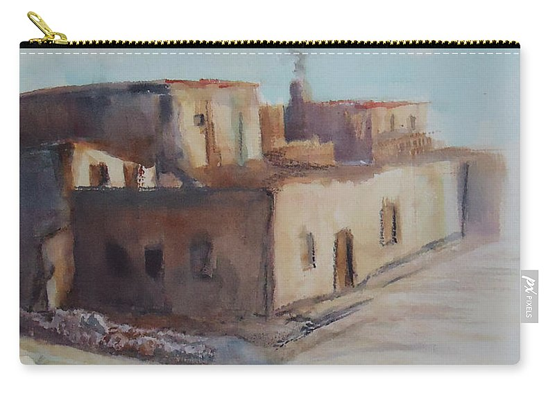 Pueblo Carry-all Pouch featuring the painting Pueblo After The Rain by Charme Curtin