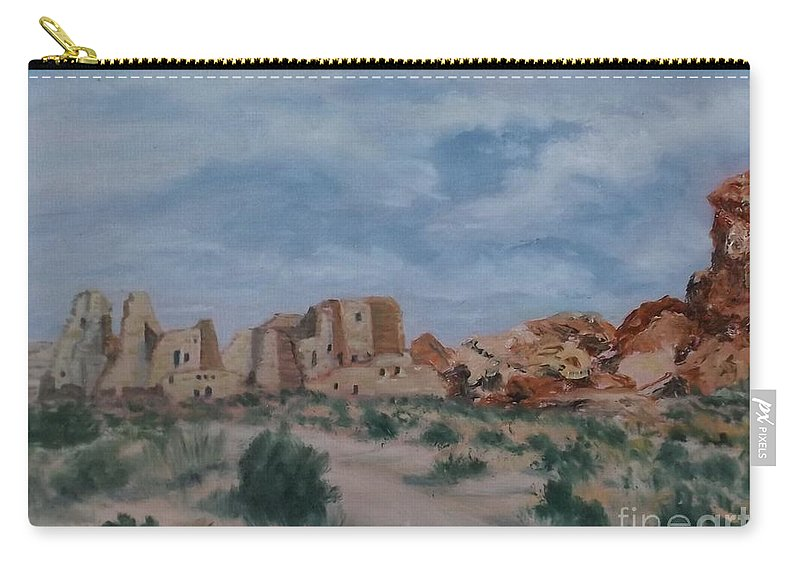 Jodi Murphy Carry-all Pouch featuring the painting Pueblo Bonito by Jodi Murphy