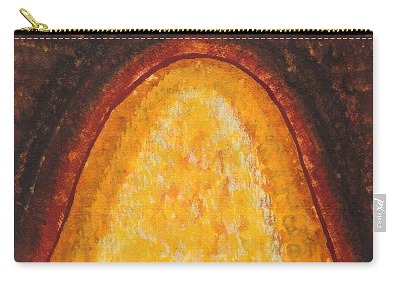 Taos Carry-all Pouch featuring the painting Pueblo Kiva Fireplace Original Painting by Sol Luckman