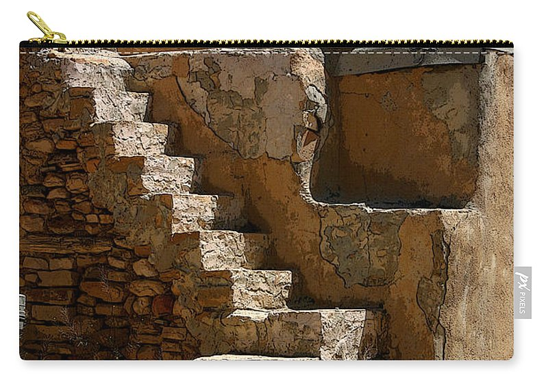 Pueblo Carry-all Pouch featuring the photograph Pueblo Stairway by Joe Kozlowski