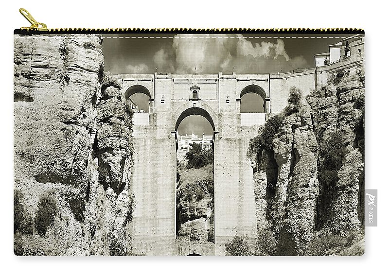 Bridge Carry-all Pouch featuring the photograph Puente Nuevo Tajo De Ronda Andalucia Spain Europe by Mal Bray