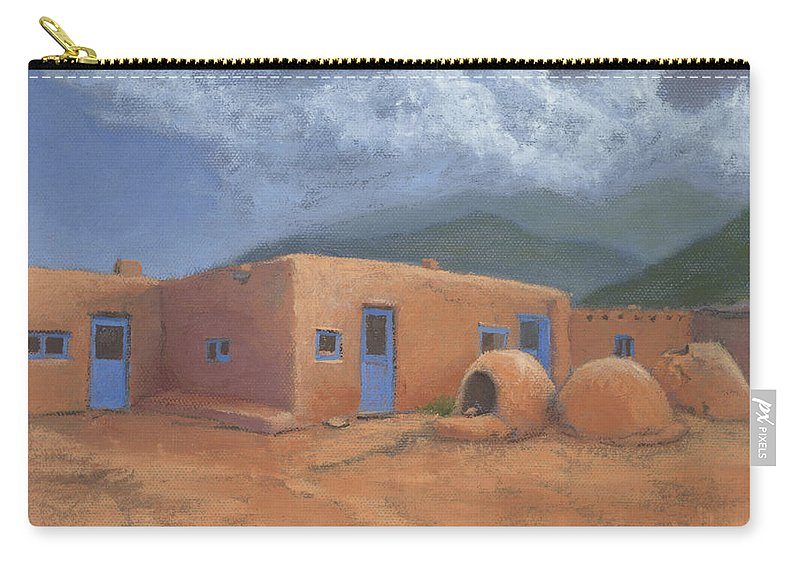 Taos Carry-all Pouch featuring the painting Puertas Azul by Jerry McElroy