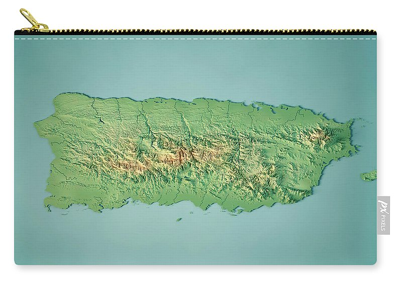 Puerto Rico 3d Render Topographic Map Carry All Pouch For