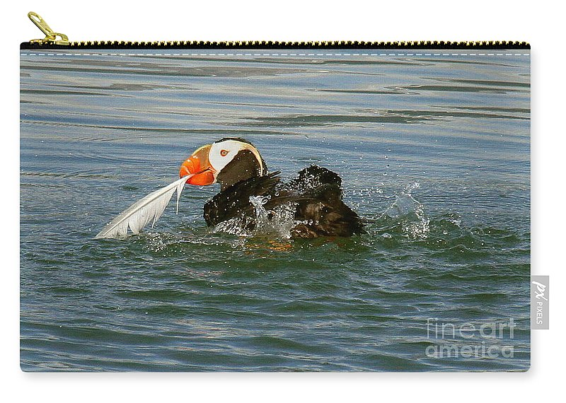 Birds Carry-all Pouch featuring the photograph Puffin With A Prize by Myrna Bradshaw
