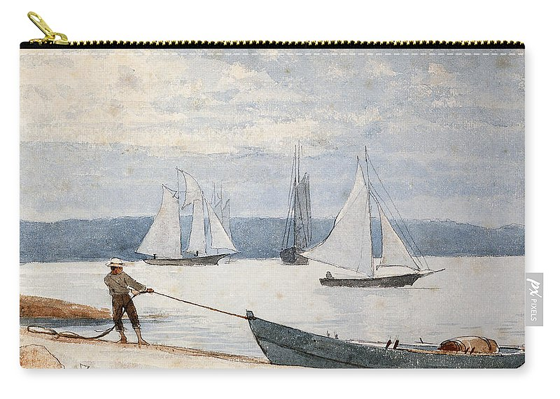 Man Carry-all Pouch featuring the painting Pulling The Dory by Winslow Homer