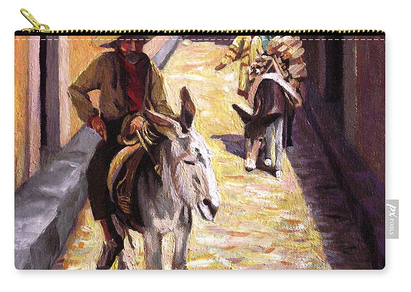 Impressionism Carry-all Pouch featuring the painting Pulling Up The Rear In Mexico by Nancy Griswold