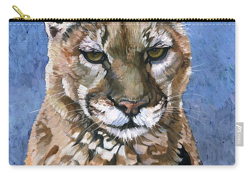 Puma Carry-all Pouch featuring the painting Puma - The Hunter by J W Baker