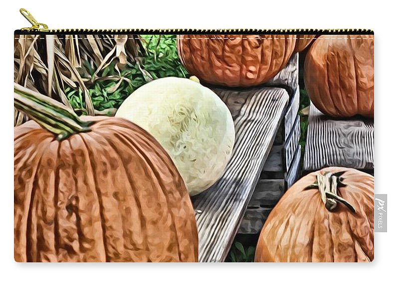 Pumpkins Carry-all Pouch featuring the digital art Pumkins In A Row by Mary Pille