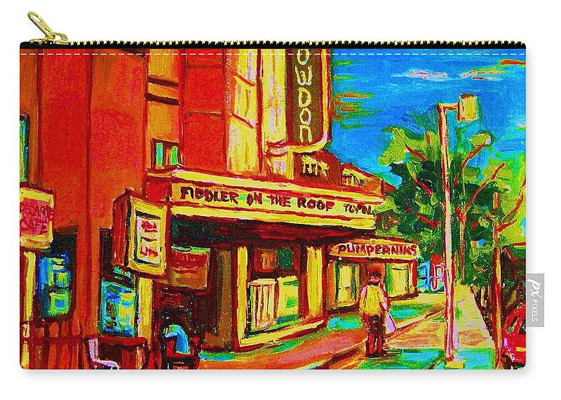 Pumperniks Carry-all Pouch featuring the painting Pumperniks And The Snowdon Theatre by Carole Spandau