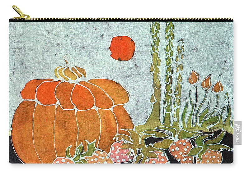Still Life Carry-all Pouch featuring the tapestry - textile Pumpkin And Asparagus by Carol Law Conklin