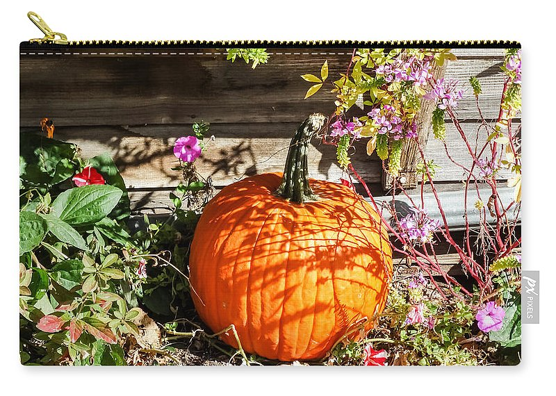 Pumpkin And Flowers Carry-all Pouch featuring the photograph Pumpkin And Flowers by Cynthia Woods