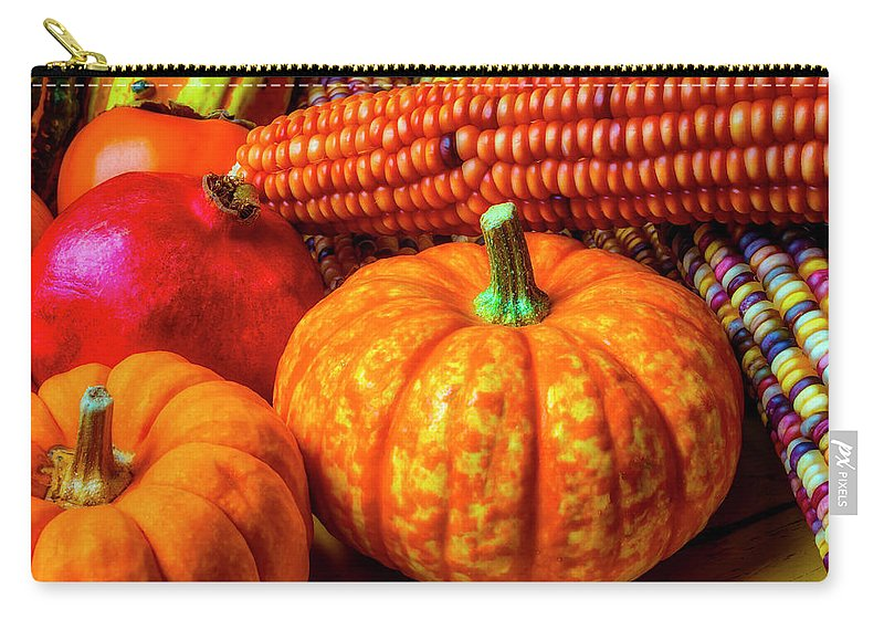 Pomegranates Carry-all Pouch featuring the photograph Pumpkin Corn Still Life by Garry Gay