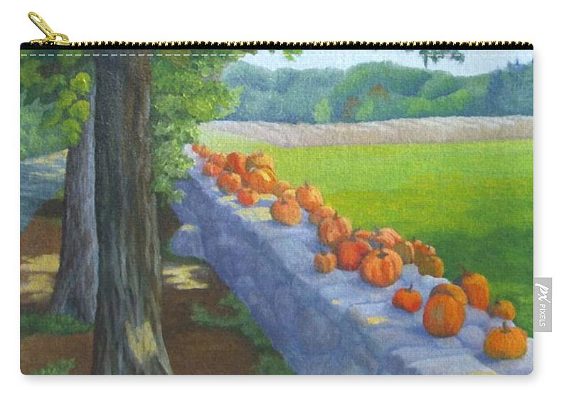 Pumpkins Carry-all Pouch featuring the painting Pumpkin Muster by Sharon E Allen