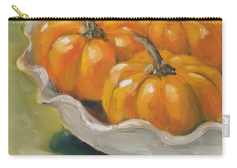 Pumpkins Painting Carry-all Pouch featuring the painting Pumpkin Pie by Kristine Kainer