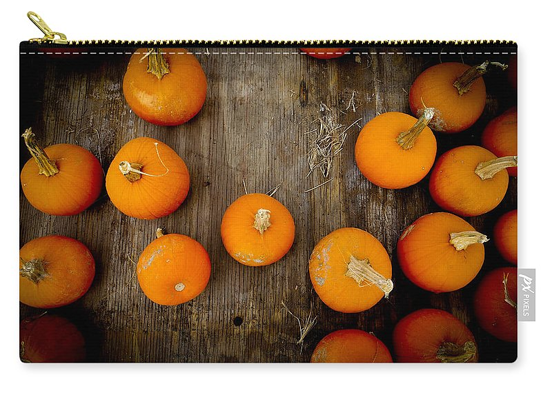 Pumpkin Carry-all Pouch featuring the photograph Pumpkin Tops by Marisela Mungia