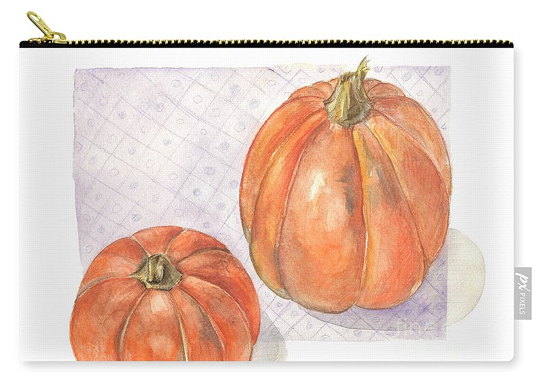 Harvest Carry-all Pouch featuring the painting Pumpkin by Yana Sadykova