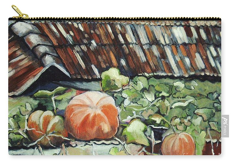 Pumpkin Paintings Carry-all Pouch featuring the painting Pumpkins On Roof by Seon-Jeong Kim