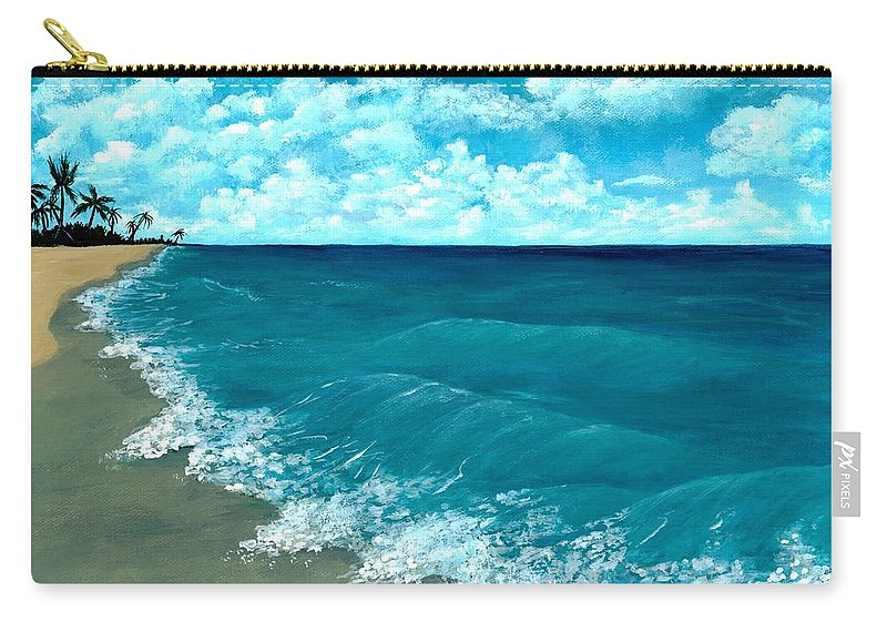 Blue Carry-all Pouch featuring the painting Punta Cana Beach by Anastasiya Malakhova