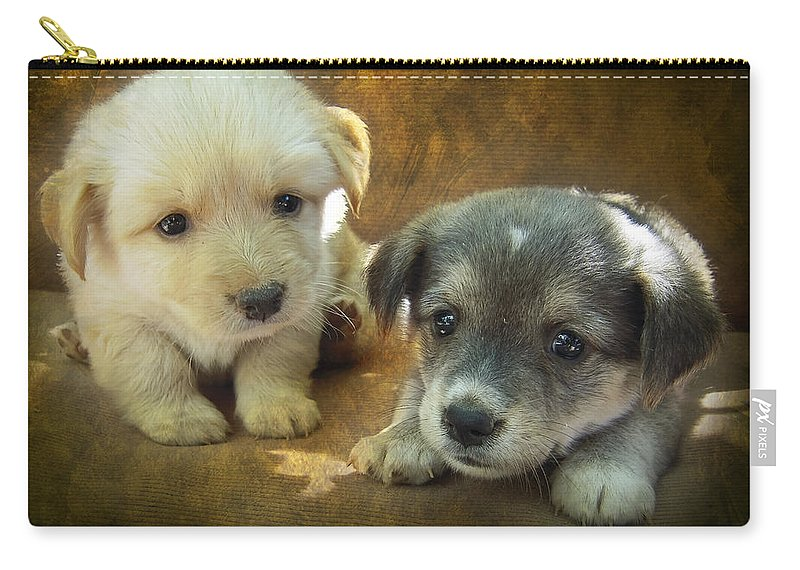 Adorable Carry-all Pouch featuring the photograph Puppies by Svetlana Sewell
