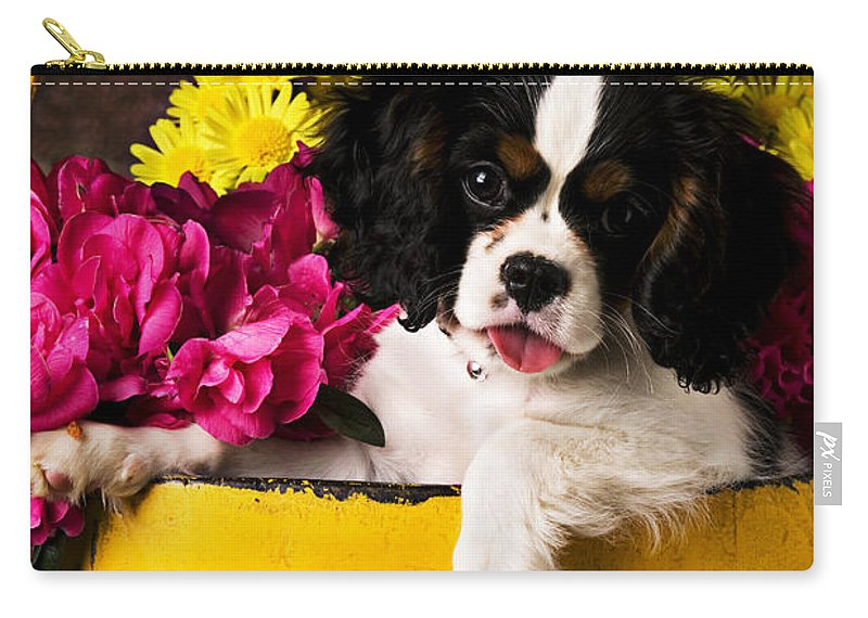 Puppy Dog Cute Doggy Domestic Pup Pet Pedigree Canine Creature Soccer Ball Carry-all Pouch featuring the photograph Puppy In Yellow Bucket by Garry Gay