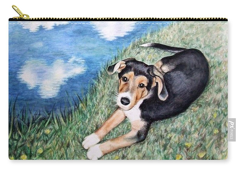 Dog Carry-all Pouch featuring the painting Puppy Max by Nicole Zeug