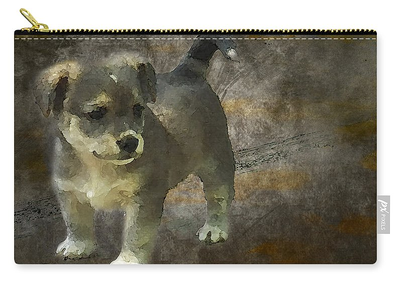 3d Carry-all Pouch featuring the photograph Puppy by Svetlana Sewell