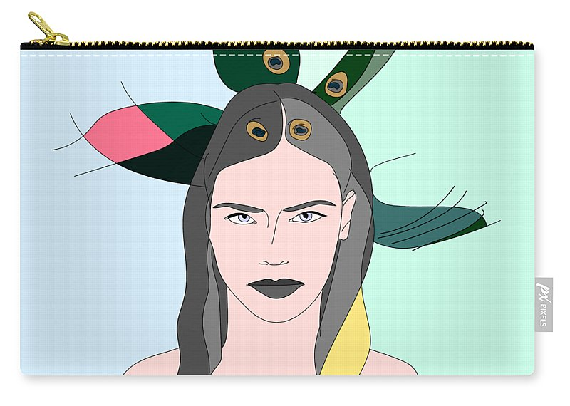 Woman Carry-all Pouch featuring the drawing Pure Elixir- Beautiful Woman Portrait Minimalist Drawing by Iri Kirova
