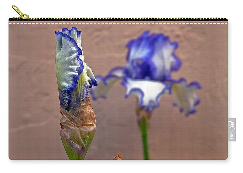 Bearded Carry-all Pouch featuring the photograph Purple And White Bearded Iris Bud by Emerald Studio Photography