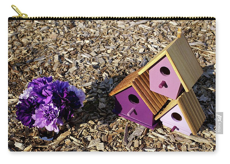 Purple Carry-all Pouch featuring the photograph Purple Birdhouses 2 by Douglas Barnett