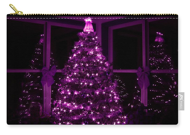 Christmas Tree Carry-all Pouch featuring the photograph Purple Christmas by Lori Deiter
