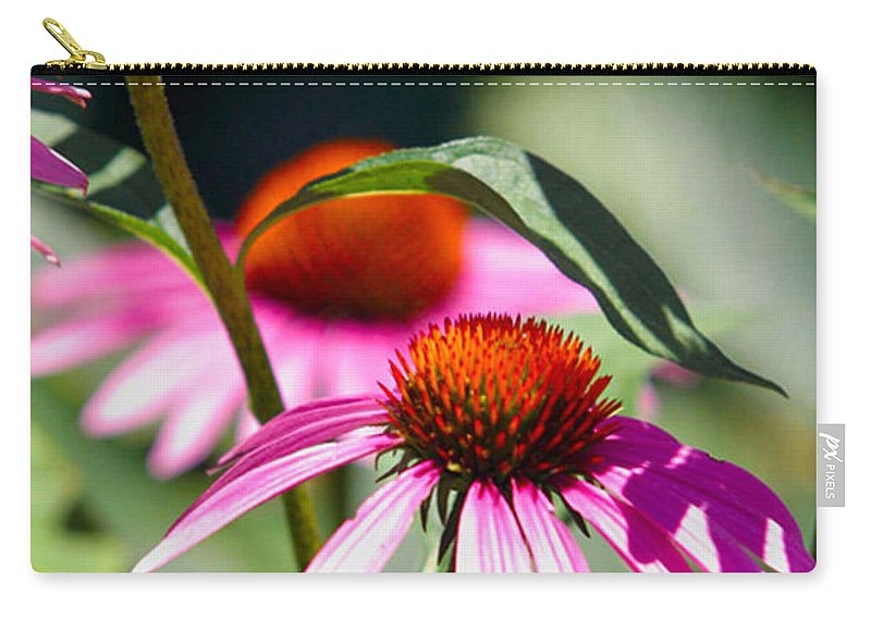 Bee Carry-all Pouch featuring the photograph Purple Cones And Honey Bees by Alan Look