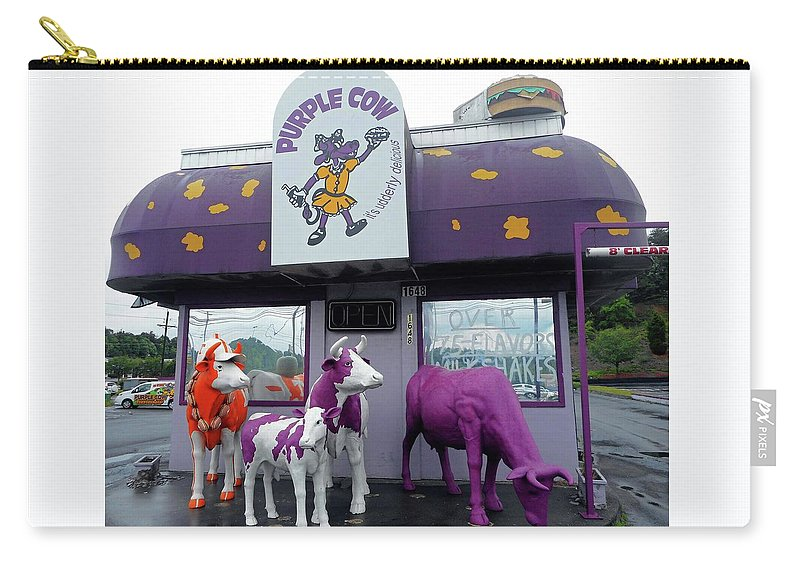 Bristol Carry-all Pouch featuring the photograph Purple Cow 1 by Ron Kandt