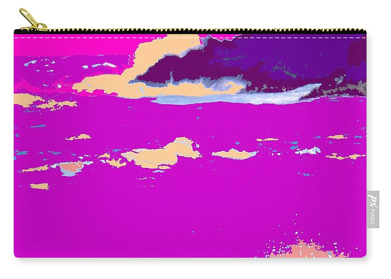 Waves Carry-all Pouch featuring the photograph Purple Crashing Waves by Ian MacDonald