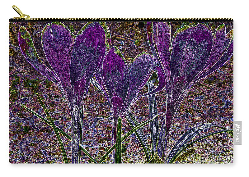 Purple Crocuses Carry-all Pouch featuring the photograph Purple Crocuses by Sharon Talson
