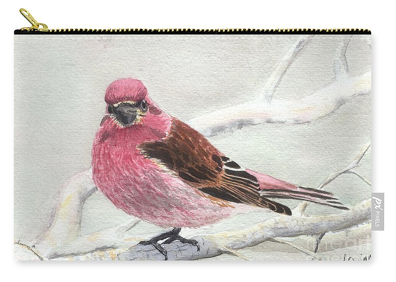 Bird Carry-all Pouch featuring the painting Purple Finch by Lynn Quinn