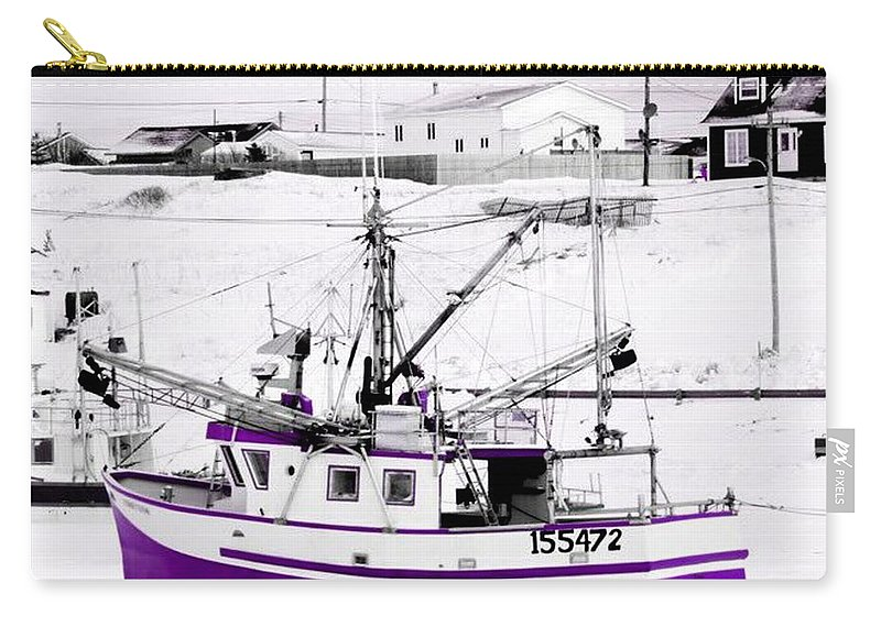 Purple Carry-all Pouch featuring the photograph Purple Fishing Boat by Suzan Roberts-Skeats
